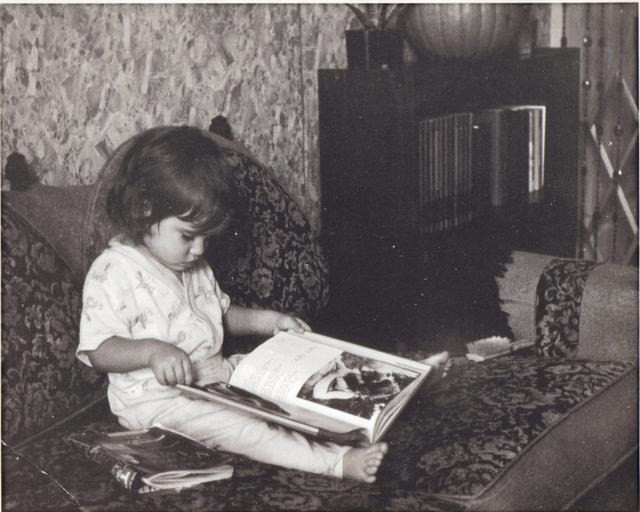 Ginger as a toddler reading
