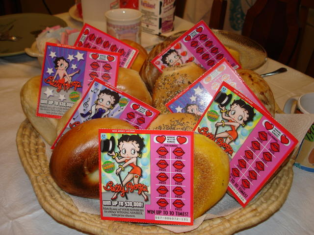 "Our yearly ""Bagels & Scratch Lotto Tickets"""