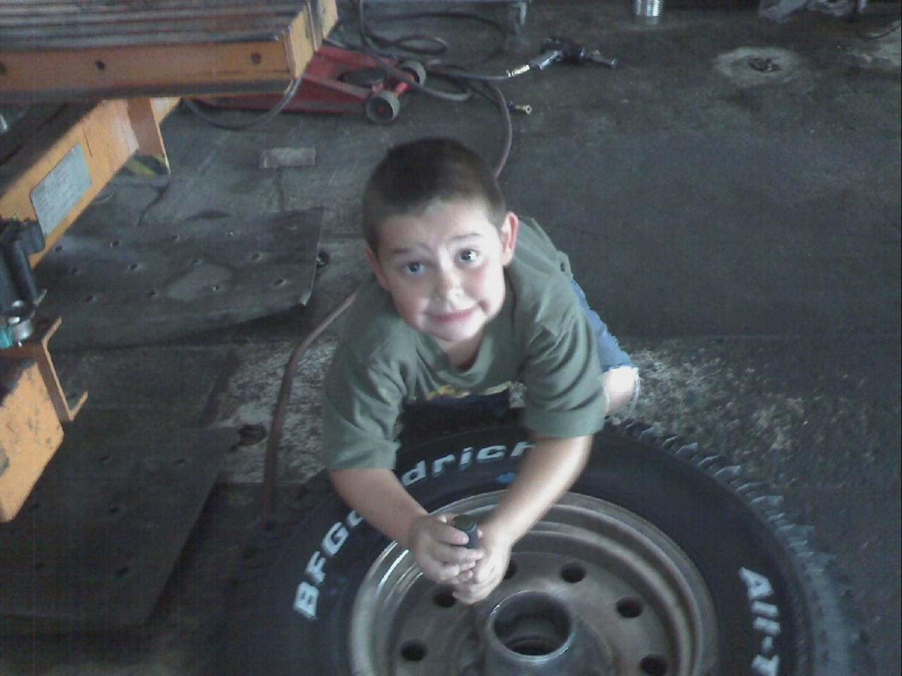 Devin at the shop - helping Daddy